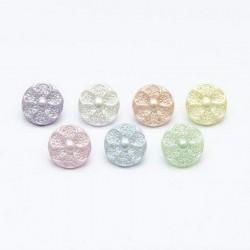 6 boutons fleurs nacres ivoire 13 mm avec boucle
