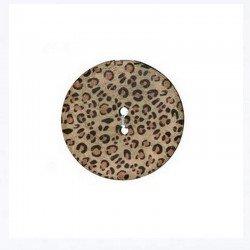 2 boutons bois imprimes leopard 20 mm