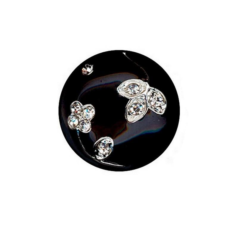 Bouton email noir et cristal diamant