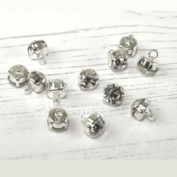4 boutons strass diamant sertis  9 mm