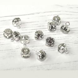 4 boutons strass diamant sertis  9 mm
