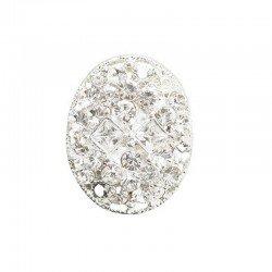 Bouton bijou cristal diamant 22 x 17 mm, or ou argent