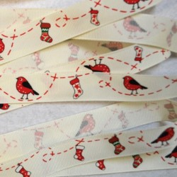 3 M ruban grosgrain Robin & Stocking Christmas 19 mm