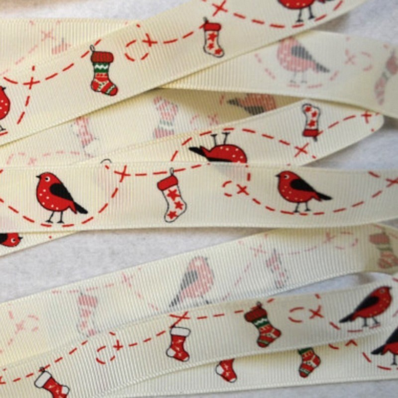 3 M ruban grosgrain Robin & Stocking Christmas 19 mm