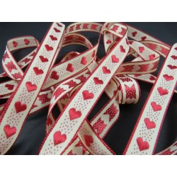 Ruban coeur rouge tissé 15 mm