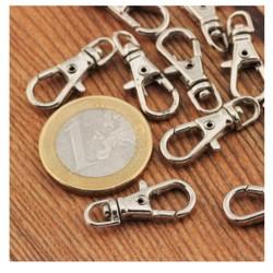 2 mini mousquetons pivotants 23 mm, argent ou bronze